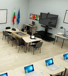 """Проект на мултифункционална технологична зала с образователни технологии и софтуер за обучение на ученици и обучение на преподаватели в ОУ """"Св. Иван Рилски"""" - гр. Перник."""