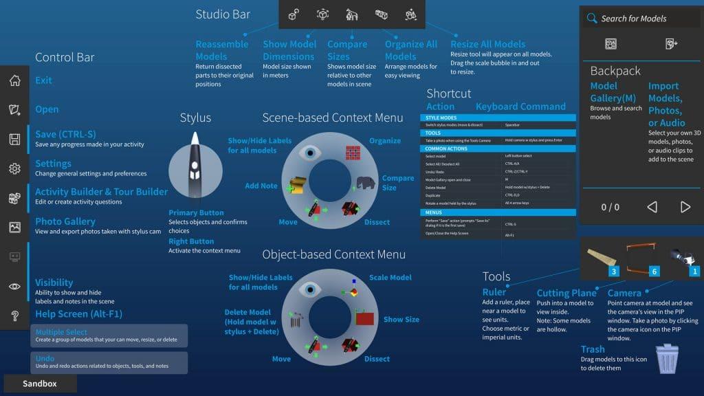 инструкции за функциите и клавишите на софтуера zSpace Studio (лаптоп версия)