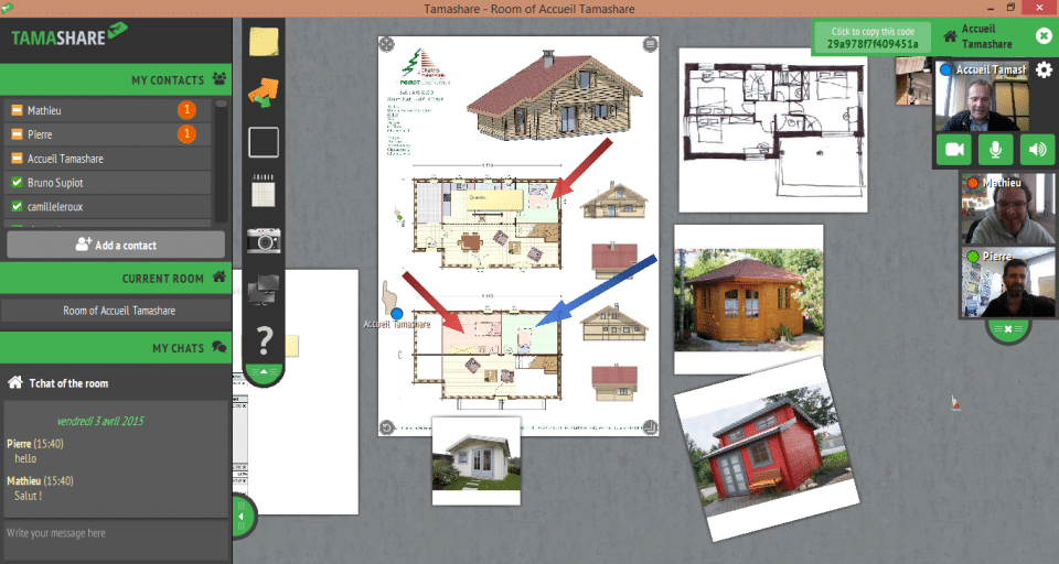 работното поле на софтуер за създаване на виртуална класна стая tamashare