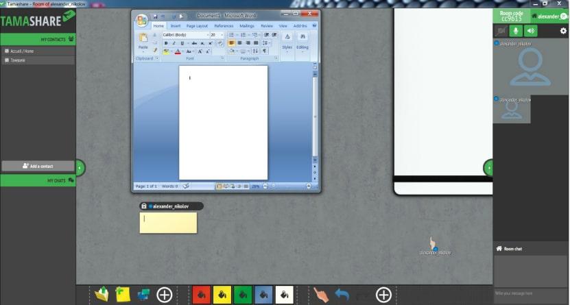 споделяне и редакция на файлове в софтуера за виртуална класна стая Tamashare