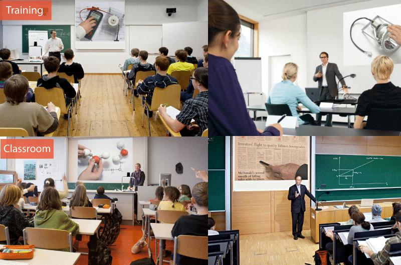 визуализация в класната стая на различни материали на хартиен носител и 3D макети чрез визуализатор или мини-скенер