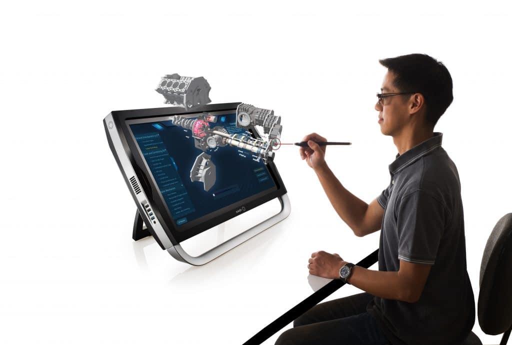3d холограма на автомобилен двигател във виртуална и добавена реалност на zSapce®