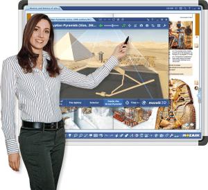 mozaBook Classroom е най-добрият софтуер за работа с интерактивни дъски и интерактивни дисплеи, както и с електронни учебници